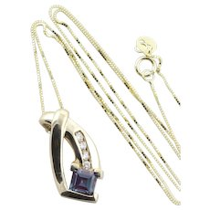 10k Yellow Gold Lab Created Blue, Purple Alexandrite  and Diamond Necklace 18 inch chain
