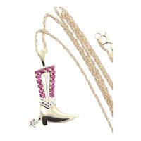 10k Yellow Gold Lab Created Ruby and Genuine Diamond Cowboy Cowgirl Boot Necklace 18 inch chain
