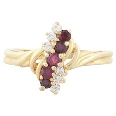 14k Yellow Gold Natural Ruby and Diamond Ring Size 4 3/4