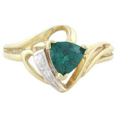 10k Yellow Gold Lab Created Emerald and Diamond Ring Size 7 1/2