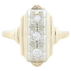 14k Yellow Gold Diamond Ring Art Deco Ring Size 7 1/4