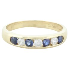14k Yellow Gold Natural Blue Sapphire and Diamond Band Ring Size 6 1/4