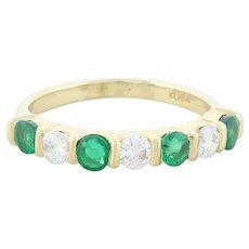 14k Yellow Gold Natural Green Emerald and Diamond Band Ring Size 5
