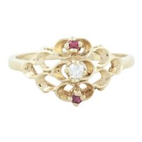 10k Yellow Gold Natural Ruby and Diamond Filigree Ring Size 5 1/2