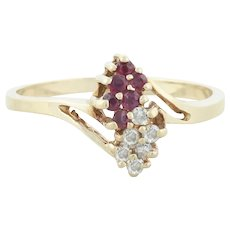 10k Yellow Gold Natural Ruby and Diamond Cluster Ring Size 6
