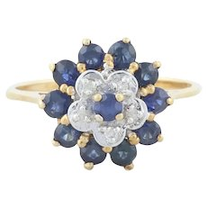 14k White Gold Natural Blue Sapphire with Diamond Flower Ring Size 6 1/4