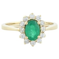 14k Yellow Gold Natural Emerald and Diamond Halo Ring Size 7
