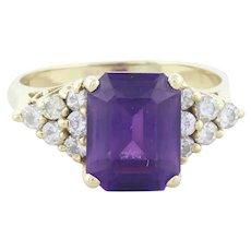 14k Yellow Gold Natural Amethyst and Diamond Ring Size 5