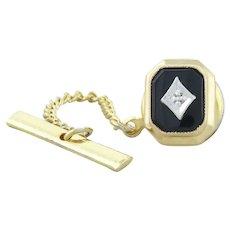14k Yellow Gold Onyx and Diamond Pin Tie Tack Lapel Pin