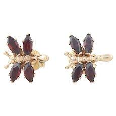 10k Yellow Gold Natural Garnet Butterfly Earrings Stud Post Earrings