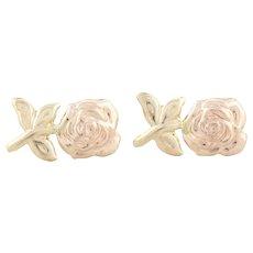 14k Rose Gold and Yellow Gold Rose Flower Earrings Stud Post Earrings