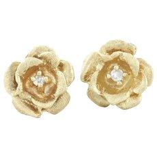 14k Yellow Gold Diamond Rose Flower Stud Post Earrings