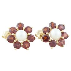 14k Yellow Gold Natural Garnet and Pearl Flower Earrings Stud Post Earrings