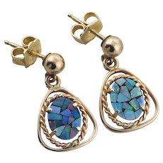 14k Yellow Gold Mosaic Black Opal Doublet Earrings Dangle Drop Earrings