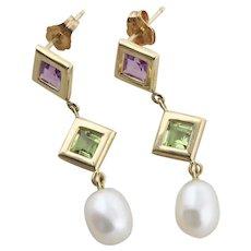 14k Yellow Gold Natural Amethyst, Peridot, and Pearl Dangle Drop Earrings