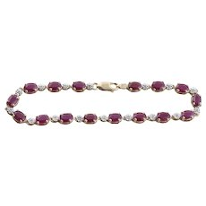 10k Yellow Gold Natural Ruby and Diamond Tennis Bracelet Size 7 1/4 inches