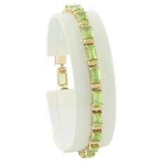 14k Yellow Gold Natural Green Peridot Bracelet 7 1/4 Tennis Bracelet