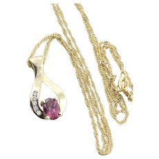 14K Yellow Gold Natural Rhodolite Garnet and Diamond Necklace with 18 inch Twist chain