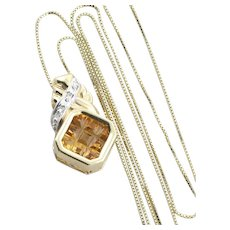 14k Yellow Gold Natural Citrine and Diamond Necklace with 19 1/2 inch Box Chain