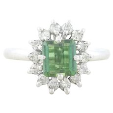 14k White Gold Natural Green Tourmaline and Diamond Ring Size 6 3/4 High Setting