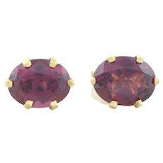 14k Yellow Gold Natural Rhodolite Garnet Earrings Stud Post Earrings
