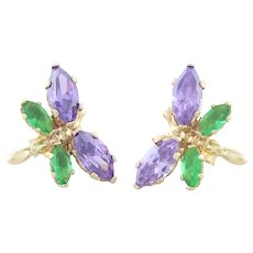 14k Yellow Gold Amethyst and Simulated Emerald Butterfly Earrings Stud Post Earrings