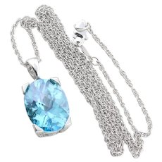 10K White Gold Natural Blue London Topaz and Diamond Pendant with 14k White Gold 18 inch chain