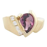 14k Yellow Gold Natural Rhodolite Garnet and Diamond Ring Size 6 3/4