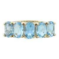 10k Yellow Gold Natural Swiss Blue Topaz Band Ring Size 5 1/2