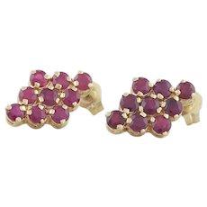 14k Yellow Gold Natural Ruby Cluster Earrings Stud Post Earrings