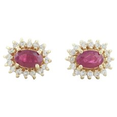 14k Yellow Gold Natural Ruby and Diamond Halo Stud Post Earrings