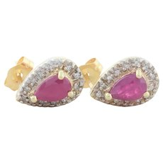 10k Yellow Gold Natural Ruby and Diamond Earrings Stud Post Earrings
