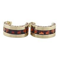 10k Yellow Gold Natural Garnet Earrings J Hoop Half Hoop Earrings