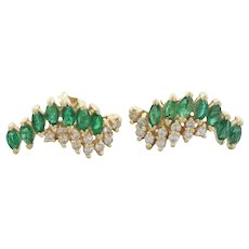 14k Yellow Gold Natural Green Emerald and Diamond Stud Post Earrings