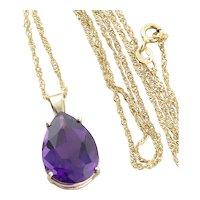 "10k Yellow Gold Large Natural Purple Amethyst Pendant with 14k Gold Twist Chain 18"" inch Chain"
