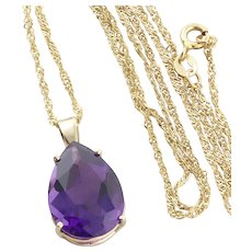 """10k Yellow Gold Large Natural Purple Amethyst Pendant with 14k Gold Twist Chain 18"""" inch Chain"""