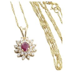 14k Yellow Gold Natural Ruby and Diamond Necklace 18 inch chain