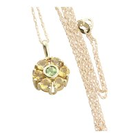 10K Yellow Gold Natural Citrine and Peridot Necklace Flower Necklace 18 inch chain