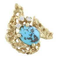 14k Yellow Gold Natural Turquoise and Diamond Ring Size 6 3/4 Coral Reef Design
