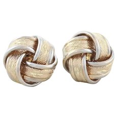 14k Yellow Gold and White Gold Knot Earrings Stud Post Earrings Large 1/2 Inch Round