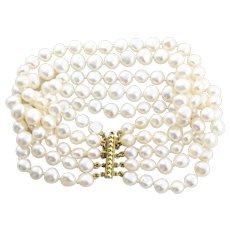 14k Yellow Gold Freshwater Pearl 5 Multi Strand Bracelet  8 Inch long