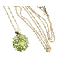 14k Yellow Gold Natural Green Peridot Necklace Flower Necklace 18 inch chain