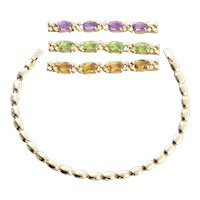 14k Yellow Gold Interchangeable Natural Amethyst, Peridot, Citrine Bracelet 7 1/4 inch Long