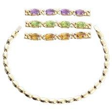 14k Yellow Gold Interchangeable Natural Amethyst, Peridot, Citrine Bracelet 7 1/4 inch Long
