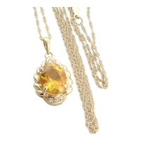14k Yellow Gold Natural Citrine and Diamond Necklace with 18 inch Chain