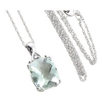 """10k White Gold Natural Green Amethyst and Diamond Necklace 18"""" Chain"""