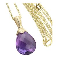 "14k Yellow Gold 10 carat Natural Purple Amethyst Enhancer Pendant with 18"" inch Chain"