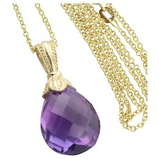 """14k Yellow Gold 10 carat Natural Purple Amethyst Enhancer Pendant with 18"""" inch Chain"""