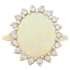 14k Yellow Gold Natural Australian Opal and Diamond Ring Size 8 1/2