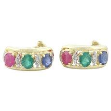 14k Yellow Gold Natural Ruby, Emerald, Sapphire and Diamond Earrings Half Hoop Earrings